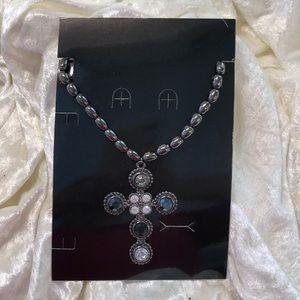 Jewelry - Crystal & hematite cross necklace